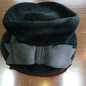 Vintage Black Velveteen Hat from Styled by Janet.